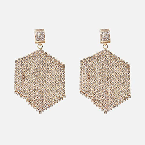 Temperamento Super Flash Moda de alto grado Banquete Borla Pendientes Aleación con incrustaciones de diamantes Pendientes Exagerados