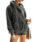 KIRUNDO 2019 Women's Winter Lapel Sweatshirt Faux Shearling Shaggy Warm Pullover Zipped Up with Pockets Tops (Small, Dark Grey)