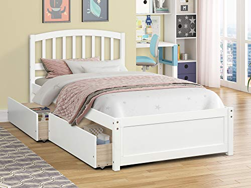 Twin Bed with Storage Drawers, Platform Bed Frame for Kids Teens and Adults, Wood Slat Support No Box Spring Needed, Captains Bed for Bedroom Guest Rooms Child's Room (White)