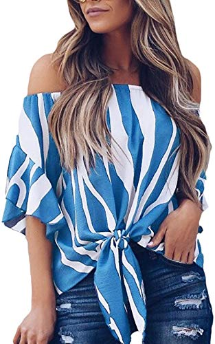 Womens Striped Printed Off The Shoulder Tops 3 4 Flared Bell Sleeve Blouses Summer Tie Knot T-Shirt