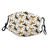 Haloxa Trotting Border Terriers and Paw Prints White_ Comfortable Mouth Cover Outdoor Cozy Unisex Anti Dust