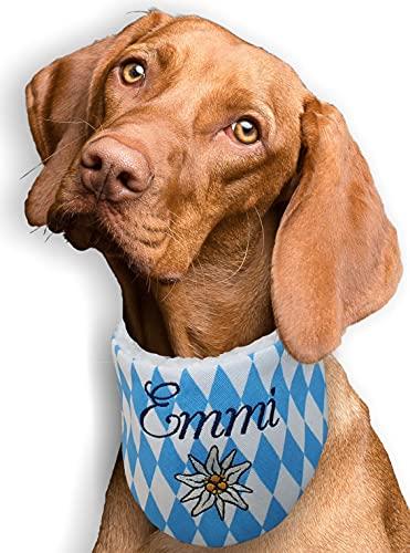 Hundehalstuch bestickt mit Namen Bayern Raute blau weiß Trachtenhalstuch Größe XXS XS S M L XL XXL XXXL WUNSCHNAME Halstuch Hund Tuch personalisiert Geschenk