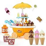 JoyGrow Carro de helado 39 piezas juego de comida de postre y dulces, juguete con música e iluminación, juguetes para niños y niñas (tamaño: 34,5 x 19,5 x 38,5 cm) (amarillo)