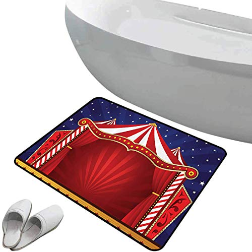Non-Slip Bathroom Rug Red Circus by Soft Skidproof Bath Mat Safe Area Canvas Tent Circus Stage Performing Theater Jokes Clown Cheerful Night Theme Print Doormat Bedroom Living Room Kitchen Decoration