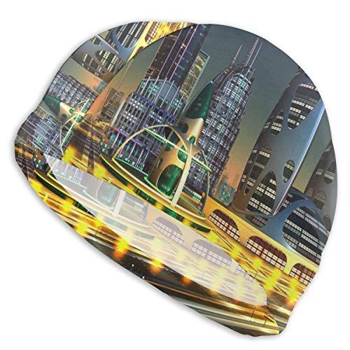 Quintion Robeson 3 D Ciudad futurista en la Noche Gorro de baño Señora Gorro de baño, Personalidad Adulto Adolescente Chica Poliéster Gorro de baño