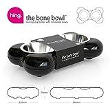 Hundenapf aus Edelstahl in Knochenform – mit zwei herausnehmbaren Schüsseln, schwarz - 6