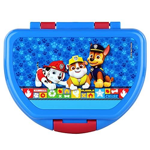 P:os 29427 – Fiambrera para niños y niñas con diseño de la Patrulla Canina en azul, aprox. 16 x 12 x 6,5 cm, de plástico, sin BPA ni ftalatos