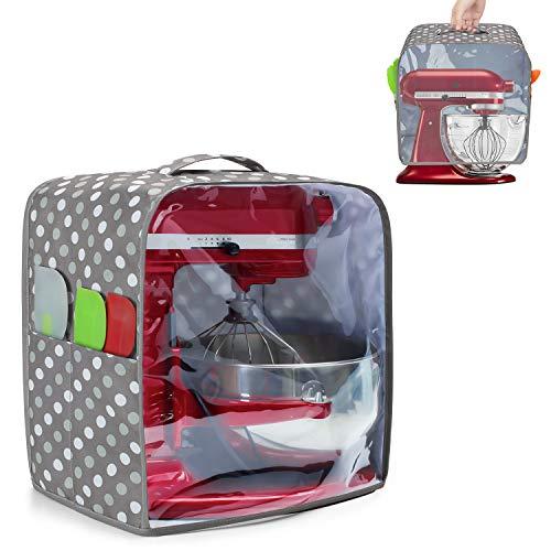 Luxja Copertura per KitchenAid Robot da Cucina (4,3 Litri e 4,8 Litri), Copertura Robot Cucina con Pannello Frontale Trasparente, Copertura Antipolvere per Impastatrice, Punti Grigi