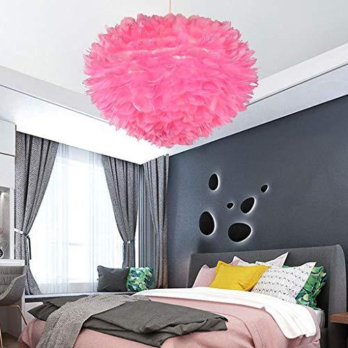Lamparas techo colgantes Pluma de la lámpara, lámpara pendiente de la luz de techo de sombra romántica Droplight Pantalla con Atenuación 12W E27 for Sala Comedor Dormitorio (Color : Pink)