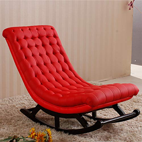QSLS Lazy Sofa Massivholz Schaukelstuhl Siesta Freizeit-Stuhl Balkon Wohnzimmer Lehnstuhl Schaukelstuhl ohne Armlehnen,Rot