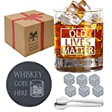 Old Lives Matter Whiskey Glass - Old Fashion Whiskey Glass Chilling Stones Gift Boxed Set - Funny Wedding Anniversary, Birthday Gifts, Retirement Gifts for Men, Dad, Grandpa, boss, Boyfriend, Friends