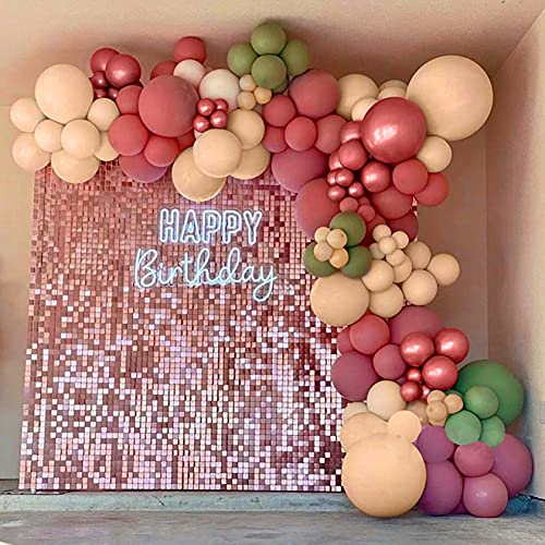 Bellatoi Balloon Arch Garland Kit,121pcs Vintage Pink Party Decoration,Retro Pink Green Apricot Latex Balloon,Rose Gold Metallic Balloon, Decoration Balloons for Birthday Wedding Graduation