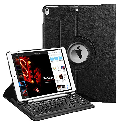 """Fintie Rotating Keyboard Case for iPad Air 10.5"""" (3rd Gen) 2019 / iPad Pro 10.5"""" 2017-360 Degree Rotating Smart Stand Cover w/Pencil Holder and Built-in Wireless Bluetooth Keyboard (Black)"""