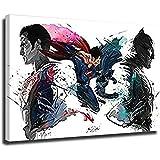 Superman VS Batman Peinture murale décorative pour salon Sans cadre 70 x 100 cm