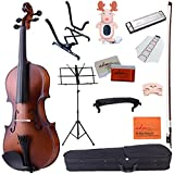 ADM 4/4 Full Size Handcrafted Solid Wood Student Acoustic Violin Starter Kits, Beginner Outfit with Violin Hard Case, Bow, Music Stand, Tuner, etc, Brown