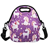 Violet Mist Insulated Neoprene Lunch Bag Tote with Detachable Adjustable ShoulderThermal Waterproof Cartoon Large Capacity Outdoor Picnic Lunch Box for Kids Teens Adults (Purple Unicorn)