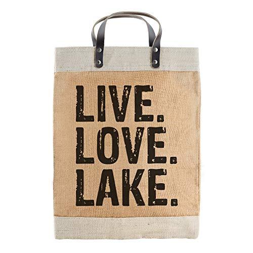 SB Design Studio Hold Everything - Borsa Grande in Iuta Impermeabile, Modello Live Love Lake