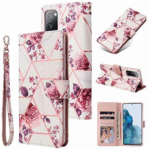 Funda para Samsung Galaxy A50, diseño de mármol 3D, a prueba de golpes, funda de piel sintética de alta calidad, con ranuras para tarjetas, para Samsung Galaxy A50, color rosa
