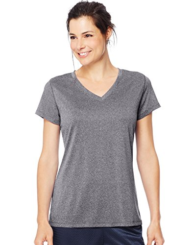 Hanes Women's Sport Performance V-Neck Tee, Granite Heather, X-Large