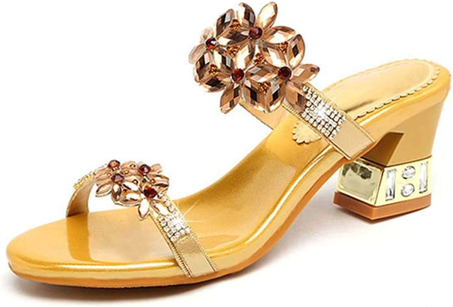 Women's Sandals Leather Rhinestone Thick with Sandals and Slippers high-Heeled Words Flowers Fashion Slippers Summer New