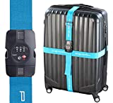 PEARL Kofferband: Kreuz-Koffergurt mit TSA-zertifiziertem Zahlenschloss, 5 x 400 cm (Kreuzkofferband)