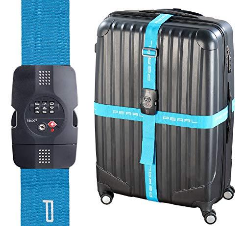 PEARL Kofferband: Kreuz-Koffergurt mit TSA-zertifiziertem Zahlenschloss, 5 x 400 cm (Kofferband Kreuz)