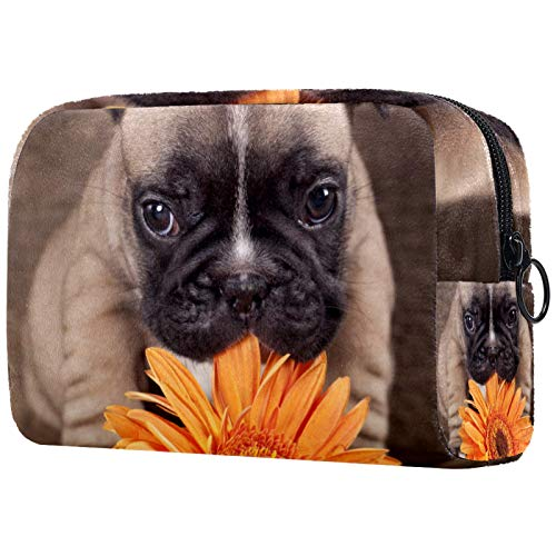 Makeup Bag Toiletry Bags Cosmetics Organizer Zipper Pouch for Women French Bulldog Puppy Flower