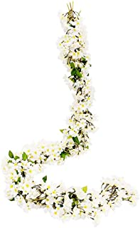 JUSTOYOU 2 Pcs 5.7FT Artificial Sakura Cherry Blossom Flowers Hanging Vine Fake Sakura Garland Fake Oriental Cherry Wreath...
