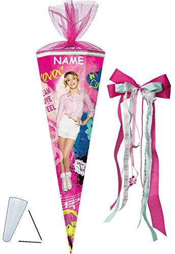 alles-meine.de GmbH Schultüte -  Disney - Violetta  - 85 cm - eckig - incl. Namen und große Schleife - Tüllabschluß - Zuckertüte - mit / ohne Kunststoff Spitze - für Mädchen - ..