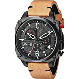 AVI-8 Men's Hawker Hunter Stainless Steel Japanese-Quartz Aviator Watch with Leather Strap, Brown, 21.2 (Model: AV-4052-02)