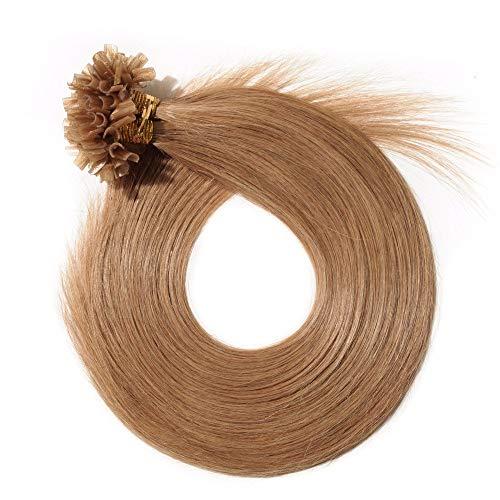 Extension Cheveux Naturel Keratine 1G Pose à Chaud 50 Mèches - 100% Vrai Cheveux Humain Rajout 22 Pouce(55CM) - #12 Marron doré