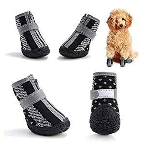 Hcpet Dog Boots Paw Protector, Anti-Slip Breathable Dog Shoes for Small Medium Dogs with Reflective Straps, Puppy Booties 4Pcs