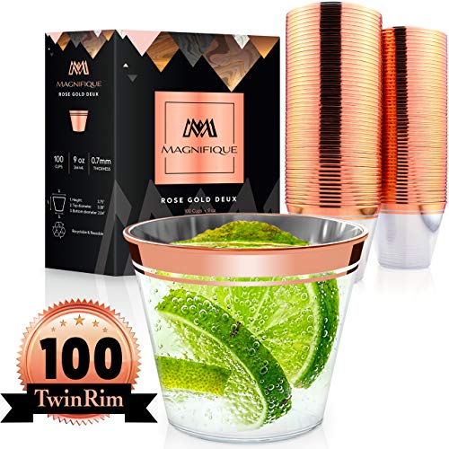 100 Premium TwinRim Rose Gold Cups | Heavier 9 oz | Perfect as Wedding Cups Disposable Wine Glasses Rimmed Rose Gold Plastic Cups Fancy Clear Rose Gold Party Decorations Cocktail Tumbler Silverware