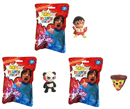 UCC Distributing Ryan's World Surprise Mystery Jellies Squishy Toy Set of 3 - Includes 3 Random Characters