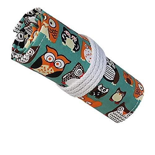 48 Fori Tela Matita Wrap Astuccio Colorate Roll Up Pencil Pouch Lavabile Durevole, Per Temperamatite, Matite, Matite Acquerellabili, Pennelli Per Il Trucco, Amici, Studenti, Artisti, Ecc—Gufo
