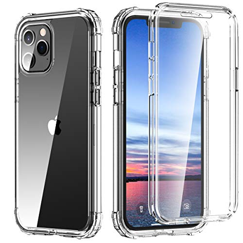 Hocase Compatible with iPhone 12 Mini Case, Shockproof Reinforced Corner Protection Slim Lightweight Full Body Protective Case (with Screen Protector) for iPhone 12 Mini (5.4-inch) 2020 - Clear