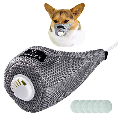 ALBT Adjustable Dog Respirator Muzzle, Breathable Cotton Dog Masks Protective Mask Pet Mouth Muzzle for Small Medium Large Dogs Filter Air Pollutants Anti Fog/Anti Dust, Pet Respirator Mask-M