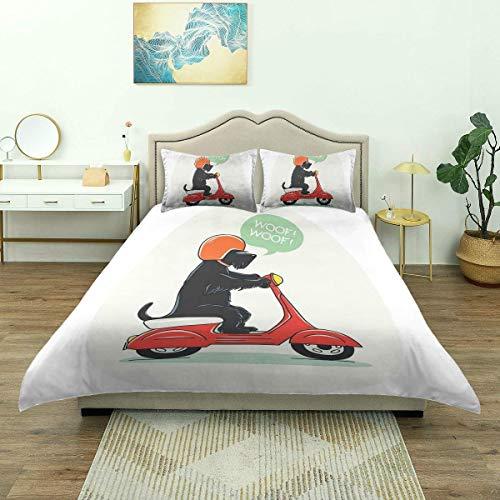 Juego de ropa de cama, ilustración de cachorro de montar a caballo Scooter con texto de Woof diseño cómico, funda de edredón de microfibra, cómoda y ligera