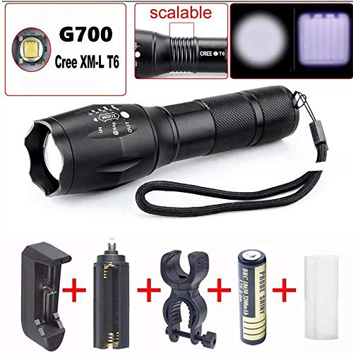 Conjunto de Linterna,Lonshell Port/átil Linterna,5000LM Con 5 modos XM-L T6 LED T/áctico Flashlight Antorcha Lamparas Cargador de Bater/ía Bater/ía 18650 Adaptador De La EU
