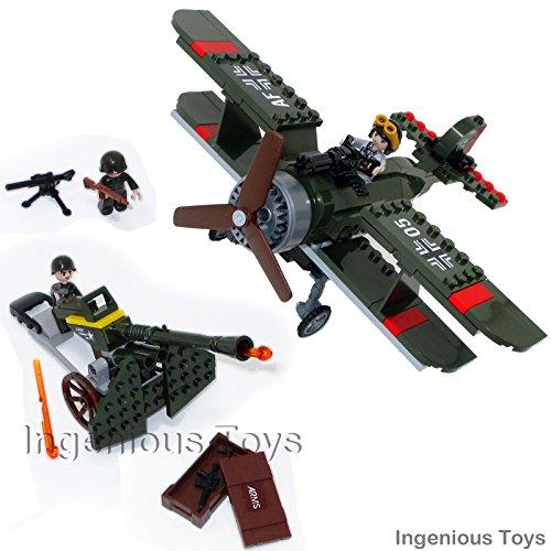 Ingenious Toys® military world war II biplane and ground attack / 187pcs...