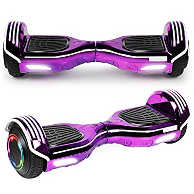 """UNI-SUN 6.5"""" Hoverboard for Kids, Two Wheel Electric Scooter, Self Balancing Hoverboard with Bluetooth and LED Lights for Adults, UL 2272 Certified Hover Board(Bluetooth Chrome Purple)"""