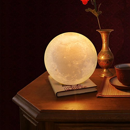 "Extra Large 7.1""/18cm Gahaya Moon Lamp, 3D Printed Light, Touch Control, Stepless Dimmable, Warm White & Cool White, PLA material, USB Recharge"