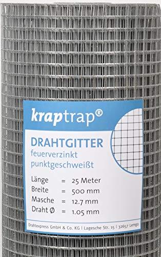 kraptrap® Volierendraht Käfigdraht Drahtgitter 12x12mm (0,5m x 25m)
