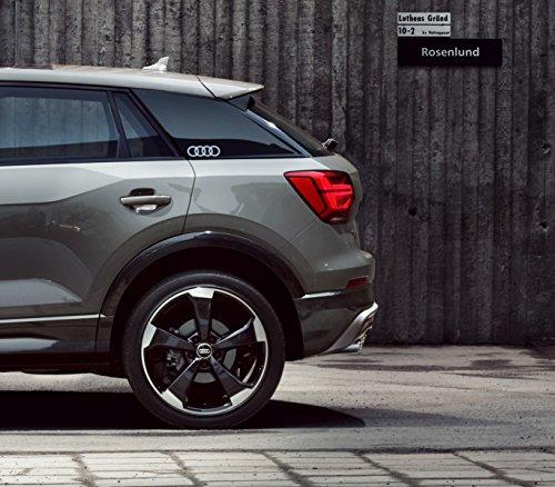 Audi Pegatina con el Emblema Original Q2–Anillos–Lámina Decorativa para el Montante C, C-Blade, Color: Plata metálico.