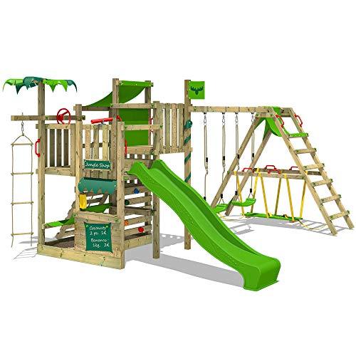 FATMOOSE Klettergerüst Spielturm CrazyCoconut mit Schaukel SurfSwing & apfelgrüner Rutsche, Gartenspielgerät mit Sandkasten, Leiter & Spiel-Zubehör