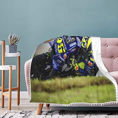Valentino Rossi - Manta suave y acogedora, ligera, de microfibra de franela de felpa para sofá de 127 x 101 cm