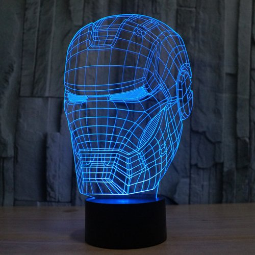XANXUS VISION Avengers Mavel LED Night Light Hero Iron Man 3D lámpara Madera Color Cambio Luz 2016 lámpara de escritorio Decoración (casco)