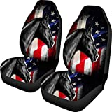 WELLFLYHOM American Flag Car Seat Covers Set of 2 Black Horse Animal Print Washable Soft Universal Fit Front Car Seats for Car Auto Automotive Truck SUV