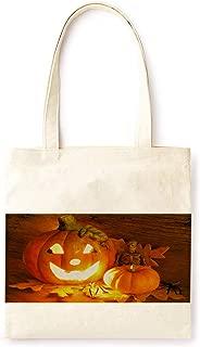 Cotton Canvas Tote Bag Modern Fairy Tale Pumpkin Lantern Farmhouse Style Halloween Ancient Castle Party Printed Casual Large Shopping Bag for School Picnic Travel Groceries Books Handbag Design