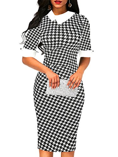 oxiuly Women's Retro Bodycon Knee-Length Formal Office Dresses Pencil Dress OX276 (L, Houndstooth)